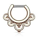 Piercingfaktor Universal Piercing Septum auch für Tragus Helix Ohr Nase Lippe Brust Intim - Schild Clicker Ring Tribal Blumen Roségold 1,6mm