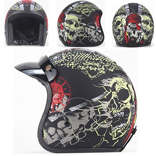 Berrd Casco moto Retro Open Face Casco moto retrò da corsa con maschera Maschera HD nero opaco XL