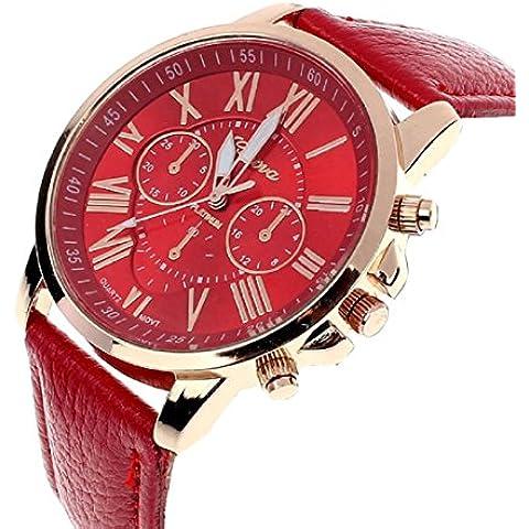Ginevra moda donna numeri romani analogico al quarzo orologio da polso (Rosso)