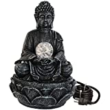 TIED RIBBONS Buddha Statue Decorative Water Fountains for Tabletop Waterfall Indoor Outdoor Living Room Garden Home Decoration and Gifts
