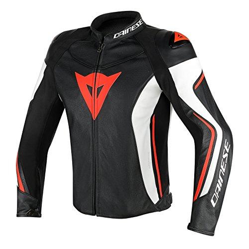 Dainese-assen perf. giacca da moto di pelle, nero/bianco/rosso-fluo, taglia 48