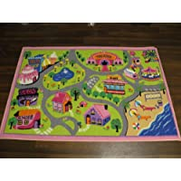 Non Slip Kids Girls World Playmat/Rug Pink 80cm x 120cm