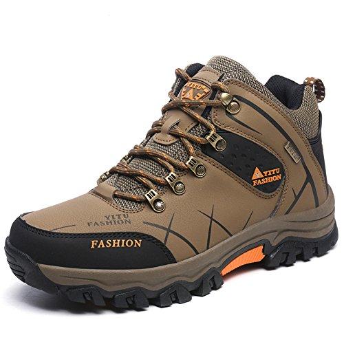 Laiwodun Herren Trekking-& Wanderschuhe Sports Outdoor Wasserdicht Gleitsicher Stiefel mit perfekter Dämpfung Braun (43)