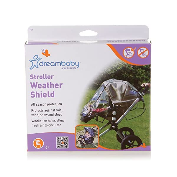 Dreambaby Stroller Weather Shade Dream Baby Transparent so that your child can still see out of the stroller clearly Made of a flexible plastic which is easy to wipe clean and dry off Fits most standard sized hooded strollers 1