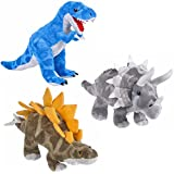 Animal Den Dinosaur Plush Toy Set - Bundle Of 3 Dinosaurs - TRex, Stegosaurus, And Triceratops - Adventure Planet Dinosaur Stuffed Animal Gift Set For Boys