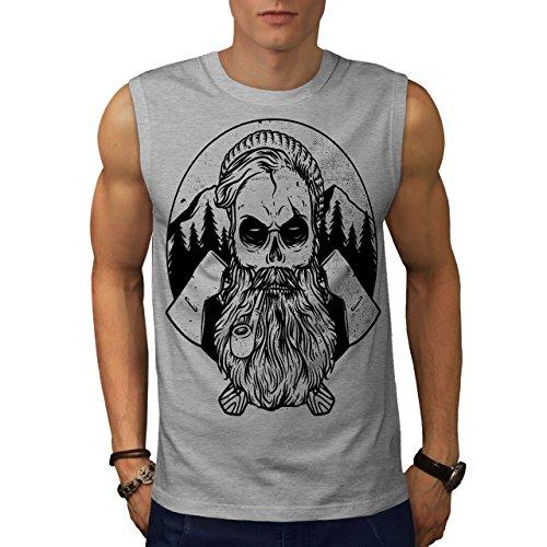 wellcoda Hipster Bauholz AXT Schädel Männer 3XL Ärmelloses T-Shirt