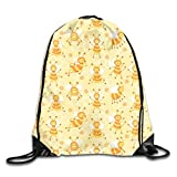 show best Busy Bees Yellow Drawstring Gym Bag for Women and Men Polyester Gym Sack String Backpack for Sport Workout, School, Travel, Books 14.17 X 16.9 inch