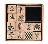 Rico Design – Holzstempel-Set mit Blumenmotiven, Natur
