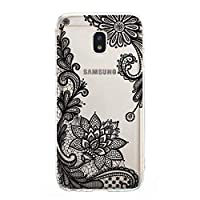 BONROY Samsung Galaxy J3 2017/J330 Case, Clear Shockproof Bumper Anti-Scratches Cover, Soft TPU Silicon Case for Samsung Galaxy J3 2017/J330-(Black Lace-JY)