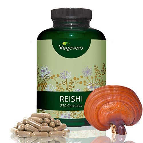 Reishi Vital-Pilz Extrakt Vegavero | 500 mg | Laborgeprüft | 270 Kapseln | Hochdosiert | >20% bioaktive Polysaccharide | Vegan und Ohne Zusatzstoffe