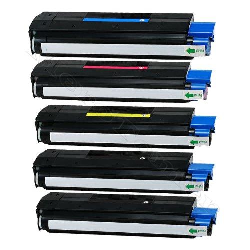 Tóner XXL 5unidades para OKI C3100C 3100, C 3200C3200, C 5100, C 5200C5100C5200, C 5250C5250, C 5300C5300, C 5400C5400, C 5450C5450, C5510, C5510MFP, C5540, C5540MFP-OEM ID 42127405, 42127406, 42127407, 42127408compatible (BKC/y/m)