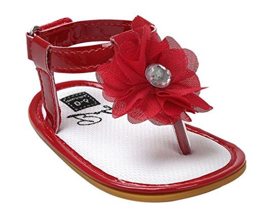 Happy Cherry Baby Mädchen Sandalen Sommer Kleinkind Schuhe PU Leder 11cm Innenlänge Krabbelschuhe Rutschfest Weiche Sohle Lauflernschuhe Babyschuhe mit Blumen (Farbe Größe wählbar) Rot