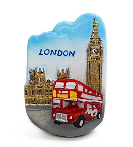 zamonji 3D Résine Aimant de Réfrigérateur Tourist Souvenir de Voyage - Royaume-Uni (Bus)