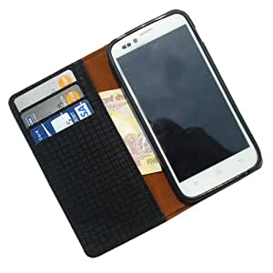 i-KitPit - PU Leather Wallet Flip Case Cover For iBall Andi 5 M8 (BLACK)