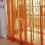 Fenster Vorhang Sheer, bunt, floral Tüll Voile Tür Vorhang Panels für Wohnzimmer, Voile Vorhang Panel, Orange, 2pcs