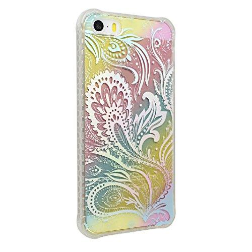 Coque iPhone 5 5S, Étui pour iPhone SE Case, Moon mood® Housse iPhone 5 Silicone Coque Étui Téléphone Couverture TPU Clair éclat Bling Brillant Glitter Diamant Strass avec Fleur Motif Ultra Mince Flex Style-3