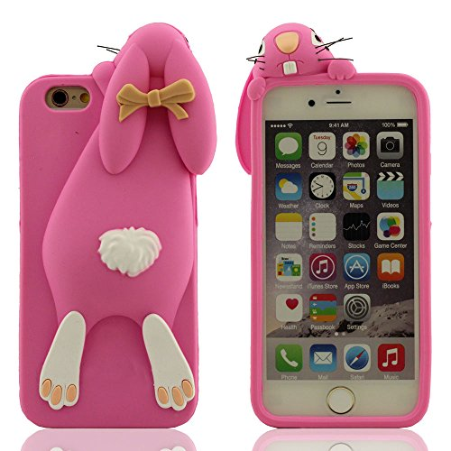 "iPhone 7 Coque Case, Souple Silicone Etui Apple iPhone 7 4.7"", 3D Mignonne Lapin Serie Anti Choc Housse de Protection pour iPhone 7 Rose"