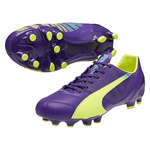 Puma EvoSpeed 3.3 FG, Chaussures de Football, Violet Prisme/Jaune/Bleu