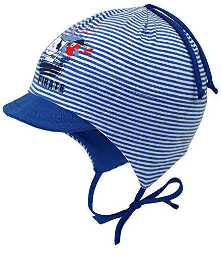 Fiebig Babymütze Jungenmütze Bindemütze Jerseymütze Schirmmütze Baumwollmütze Freizeitmütze Erstling gestreift f. Babys (FI-87068-S17-BJ0-15-45) in Royal, Größe 45 inkl. (Piraten Hut Günstige)