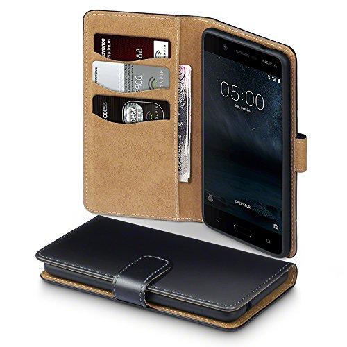 Terrapin, Kompatibel mit Nokia 5 Hülle, Handy Leder Brieftasche Case Tasche mit Standfunktion Kartenfächer - Schwarz mit Hellbraun Interior