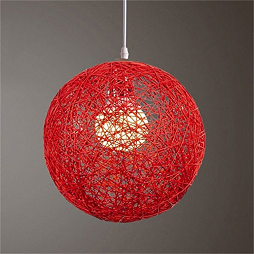 Zantec Décoration rond, résolution de 1024 tissé à la main en rotin Vigne Pendentif Boule Abat-jour lampe Nuances Accessoires de lumière (15 cm de diamètre), Rouge