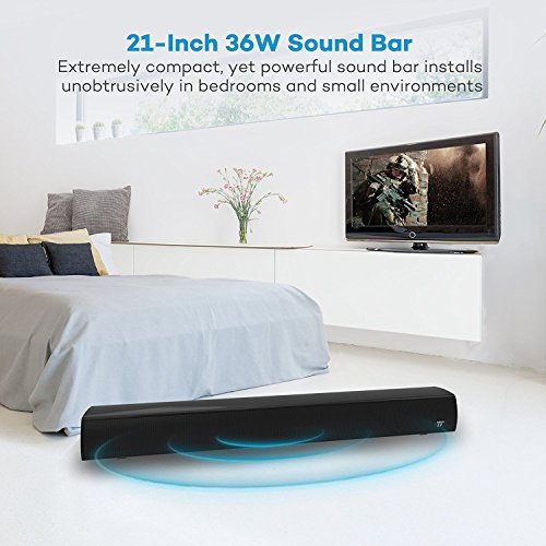 SoundbarTaoTronics-21-Inch-36W-Soundbar-with-Dual-Wired-Wireless-Connections-Wall-Mountable-Bluetooth-Soundbar-with-2-x-18W-Loud-Speakers-35mm-RCA-Optical-Inputs–Remote-Control-with-LED-Indicator