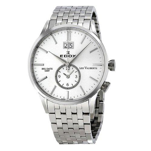 Edox Les Vauberts 41mm Silver Steel Bracelet & Case Men Watch 62004-3-ain