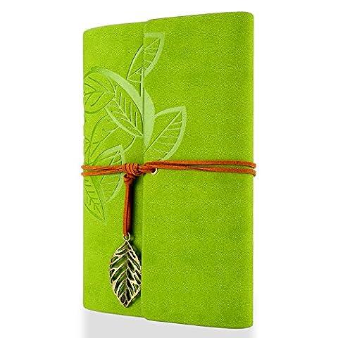 Foonii New Vintage Feuilles Mystérieuses Notebook Journal Journal Blank Agenda Jotter Cahier Corde une (Vert)