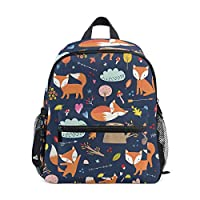 School Bag Preschool Backpack Scrawl Fox Kindergarten Nursery Backpack Lightweight Bookbag for Girls Boys Toddler Age 3-5 Children with Chest Strap Buckle and Whistle