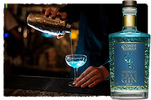 3. Conde Lumar Premium Gold Gin - Ginebra azulada con oro alimenticio