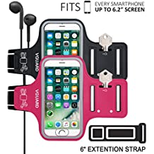 [2-Unidades] VGUARD Brazalete Deportivo para 6.2 Pulgados iPhone X/8 Plus/7 Plus [ID Touch Compatibles] Caja del Brazalete Antideslizante para Deportes con Soporte para Llaves, Cables, Tarjetas y Banda Reflectante para iPhone X/8 Plus/7 Plus/6s Plus/8/7/6/5, Samsung Galaxy S8+/S8/S7/S7 Edge/S6/S5, Huawei P10/P9/Honor 8, Nexus 6P/5X, BQ, ASUS, LG, Motorola y otros Teléfonos Inteligentes de Menos de 6.2 Pulgadas. (Negro+Rosado Oscuro)