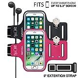 [2 Pack] VGUARD Fascia Da Braccio Sportiva Universale 6.2'' Resistente all'Acqua Sweatproof Bracciale per Corsa & Esercizi con Cinturino Regolabile, Portachiavi, Porta Scheda e Riflettente Armband per Smartphone meno di 6.2 pollici come iPhone X / 8 Plus / 7 Plus / 6s Plus / 7 / 6 / 6s / 5s / 5c / 5 , Samsung Galaxy S8+ / S8 / S7 / S7 Edge / S6 / S5, Huawei P10 / P9 / Honor 8, Nexus 6P / 5X, ASUS, LG, Motorola, ecc (Nero+Rosa Scuro)