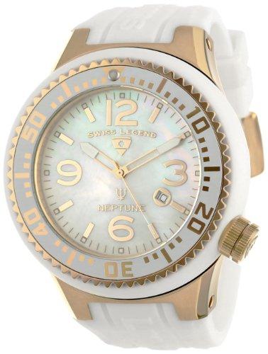 Swiss Legend - SL-21818P-YG-02-MOP - Montre Homme - Quartz Analogique - Cadran Beige - Bracelet Silicone Blanc