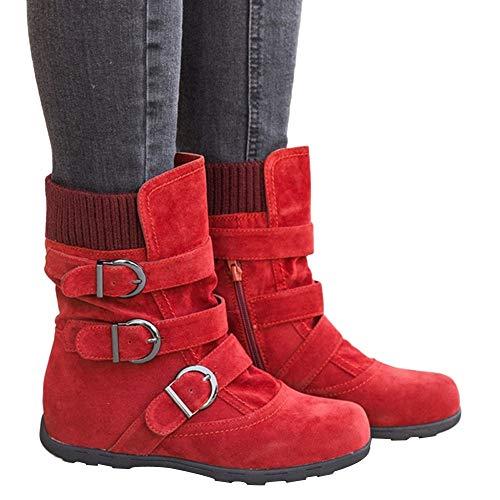 TianWlio Boots Stiefel Schuhe Stiefeletten Frauen Herbst Winter Wildleder Runde Zehe Reißverschluss Flache Reine Farbe Schnalle Halten Warme Schneeschuhe Weihnachten rot 38
