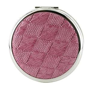 Stratton - Double miroir de poche rond - Jacquard rose - Argent