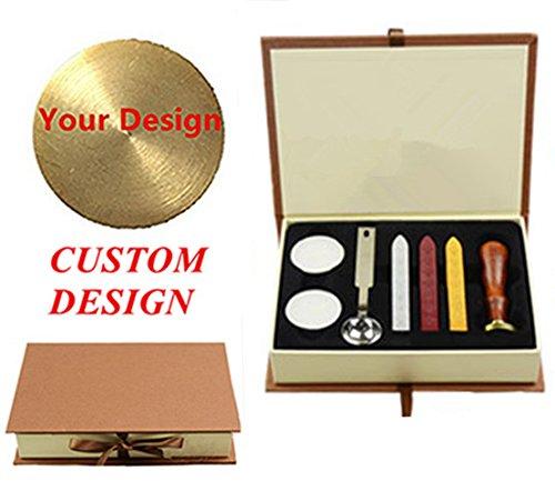 mnyr Custom Logo Bild Buchstaben Monogramm Abdichtung Holz Griff Wachs Siegel Stempel Schmelzend Löffel Sticks Hard Papier Geschenk-Box Set Kit, Gift Box Kit-4