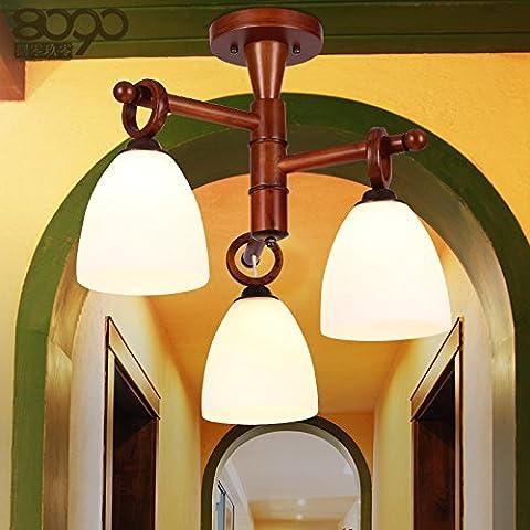 YMXJB 3 moderno LED madera techo luz colgante Lámpara de decoración perfecto para pasillo escalera dormitorio comedor decorativas luces (blanco caliente)