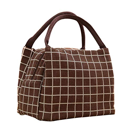 About1988 2019 Fashion Plaid Lunch-Paket Kreative Lunchbox Tasche Lunch Cooler Bag, Lunch Tote Isoliertasche Kühltasche Lunchbox Lunch Tasche (Kaffee) -