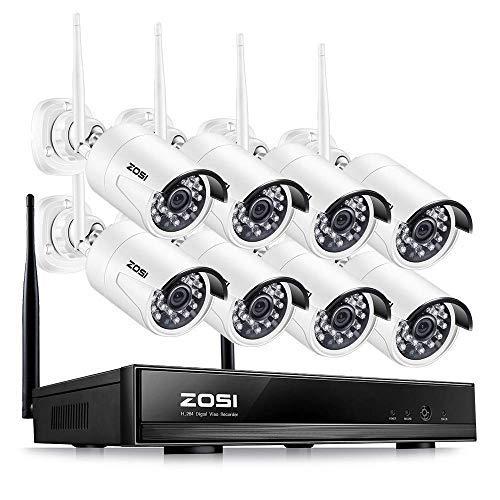 ZOSI Full HD 1080P Wireless Überwachungskamera System 8CH 1080P WLAN NVR Überwachungsset mit 8 HD 2.0Megapixel 1920x1080 Indoor Outdoor Funk Kamera ohne HDD, 20M IR Nachtsicht