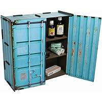 Werkhaus - Wandschränkchen Medizinschrank in Container-Optik, Türkis, 37x37x15cm (CO1803) preisvergleich bei billige-tabletten.eu