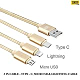 #10: TASLAR 3 in 1 USB Type C Charging Cable (Gold)
