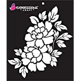 Expressions Craft Flower Stencils Peony Bloom | for Mixed Media, Wall Painting, Art and Craft, Home Decor, DIY Craft, Card Ma