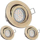 3er LED Einbaustrahler Set Messing mit LED GU10 Markenstrahler von LEDANDO - 5W DIMMBAR - warmweiss - 60° Abstrahlwinkel - schwenkbar - 50W Ersatz - A+ - LED Spot 5 Watt - Einbauleuchte LED rund