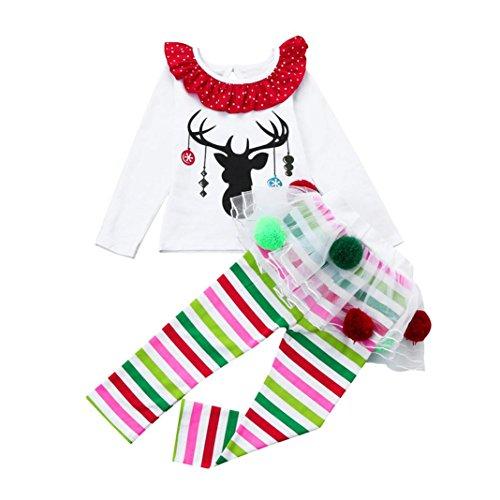 Hffan Baby Mädchen Weiß Rundhals Hirsch Muster Lange Ärmel T-Shirt Oberteile + Multicolor Gestreift Tüll Tutu Hose Weihnachten Outfits Set Babykleidung für Weihnachten (24 Monate)