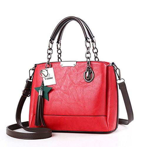 Yoome Chain Bags For Women Borsa a tracolla elegante Borsa a tracolla con nappe borsa punk con stella - Verde Rosso