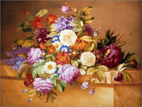 Posterlounge Holzbild 160 x 120 cm: Rosen und andere Blumen auf Einem Sims. von Alexandre Couronne/ARTOTHEK