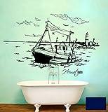 Wandtattoo Wandaufkleber Warnemünde Leuchtturm maritim M1487 - ausgewählte Farbe: *Dunkelblau* ausgewählte Größe:*M 100cm breit x 55cm hoch