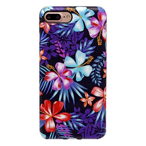 5.5 iPhone 7 Plus SGSELLER TPU Slim Fit Ultra Dünn Stoßfest Anti-Kratz Anti-Fingerabdruck Matt Schutzhülle Gehäuse, Plastik, Marmor (Weiß) Floral (Mystical)