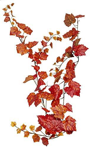 Deko Weingirlande Kunststoff Herbstgirlande Dekoranke 180cm Herbst Blumendeko Blattgirlande Blättergirlande künstlich unecht