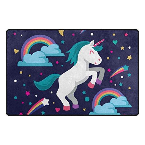 Bennigiry - Alfombra muy suave moderna estampado unicornio